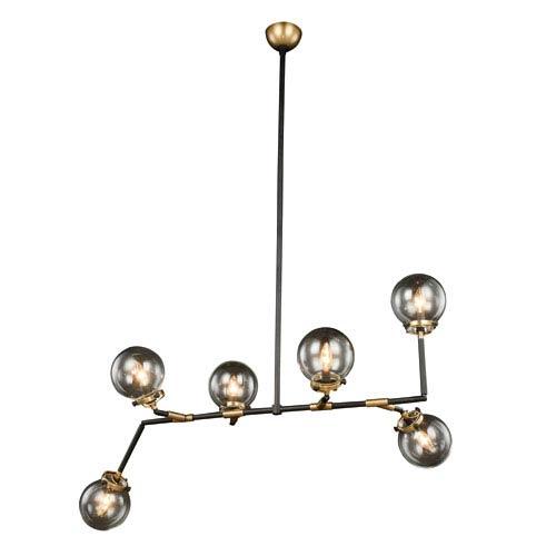 Leda Burnished Brass and Flat Black Six-Light Pendant