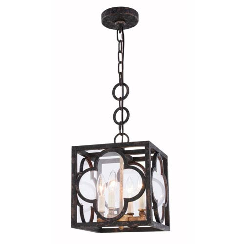Trinity Aged Copper 10-Inch Four-Light Pendant with Clear Glass