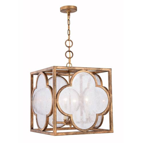 Trinity Golden Iron 18-Inch Four-Light Pendant with Seeded Glass