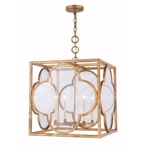 Trinity Golden Iron 22-Inch Four-Light Pendant with Clear Glass