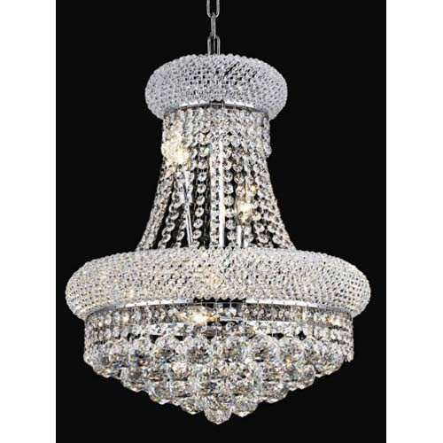 Primo Chrome Eight-Light 16-Inch Chandelier with Royal Cut Clear Crystal