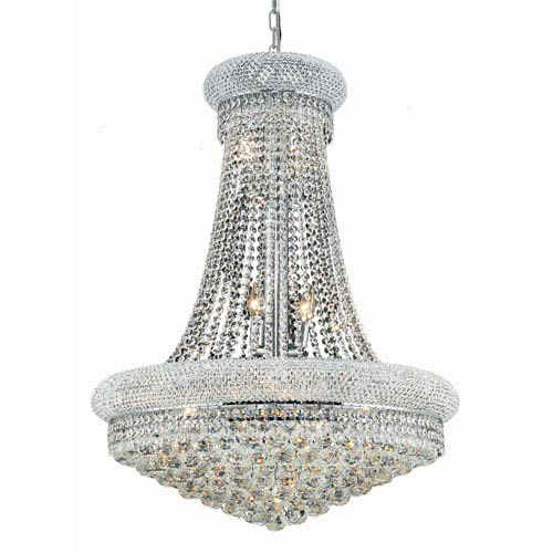 Primo Chrome Fourteen-Light 28-Inch Chandelier with Royal Cut Clear Crystal