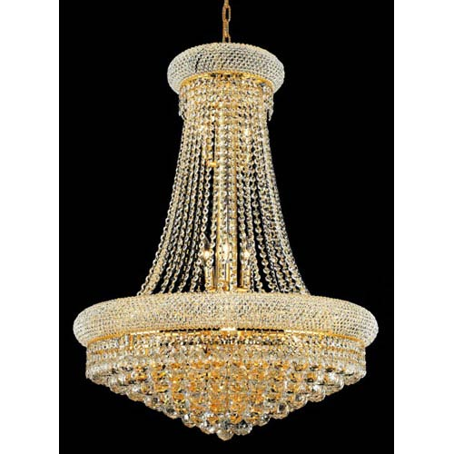 Elegant Lighting Primo Gold Fourteen-Light 28-Inch Chandelier with Royal Cut Clear Crystal
