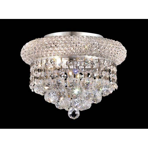 Elegant Lighting Primo Chrome Three Light Flush Mount With Royal Cut Clear Crystal