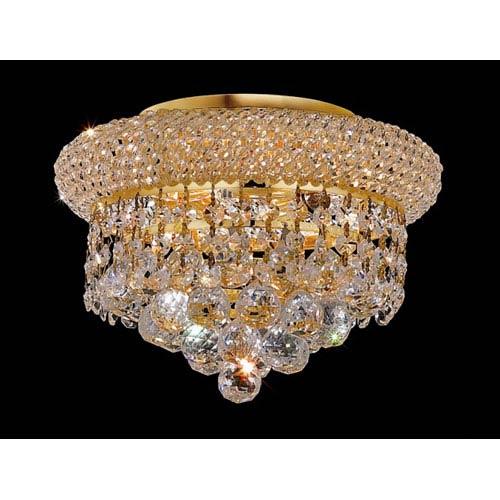 Elegant Lighting Primo Gold Three-Light Flush Mount with Royal Cut Clear Crystal