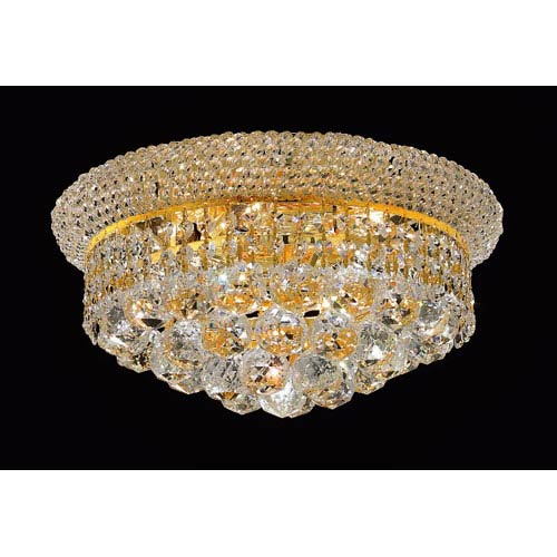Elegant Lighting Primo Gold Six-Light Flush Mount with Royal Cut Clear Crystal