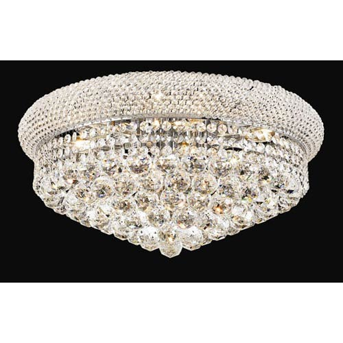 Primo Chrome Ten-Light Flush Mount with Royal Cut Clear Crystal