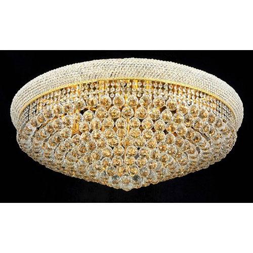 Primo Gold Twenty-Light Flush Mount with Royal Cut Clear Crystal