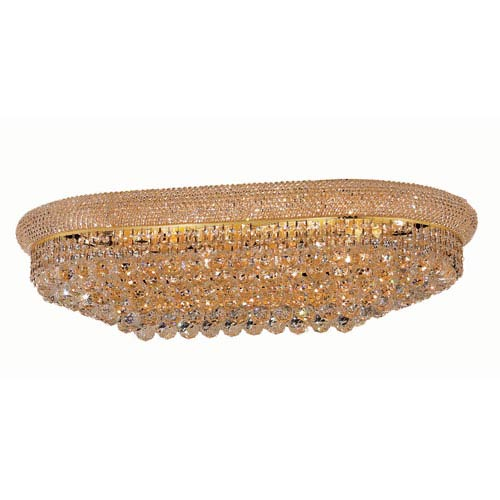 Elegant Lighting Primo Gold Eighteen-Light Oblong Flush Mount with Royal Cut Clear Crystal