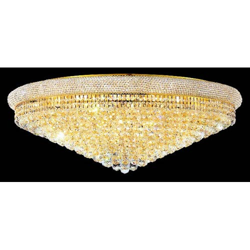 Primo Gold Thirty-Light Flush Mount with Royal Cut Clear Crystal