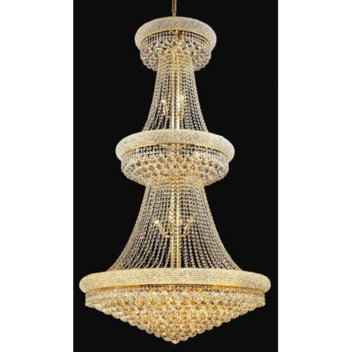 Primo Gold Thirty-Two Light Three-Tier 36-Inch Chandelier with Royal Cut Clear Crystal