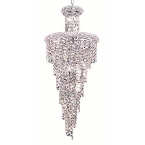Spiral Chrome Twenty-Eight Light 30-Inch Chandelier with Royal Cut Clear Crystal