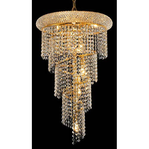 Elegant Lighting Spiral Gold Eight Light 16 Inch Chandelier With Royal Cut Clear Crystal