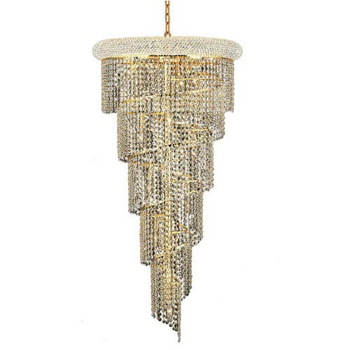 Spiral Gold Eighteen-Light 22-Inch Chandelier with Royal Cut Clear Crystal