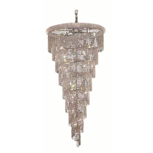 Elegant Lighting Spiral Chrome Twenty-Six Light 36-Inch Chandelier with Royal Cut Clear Crystal