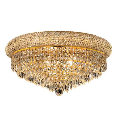 Elegant Lighting Primo Prism Gold Ten-Light 20-Inch Flush Mount with Royal Cut Clear Crystal