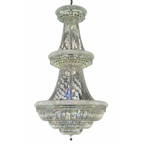Elegant Lighting Primo Chrome Forty-Eight Light Chandelier with Clear Royal Cut Crystals