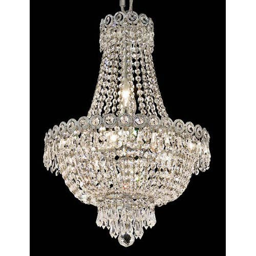 Century Chrome Eight-Light 16-Inch Chandelier with Royal Cut Clear Crystal