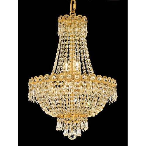 Century Gold Eight-Light 16-Inch Chandelier with Royal Cut Clear Crystal