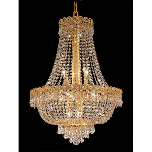 Elegant Lighting Century Gold Twelve-Light 20-Inch Chandelier with Royal Cut Clear Crystal