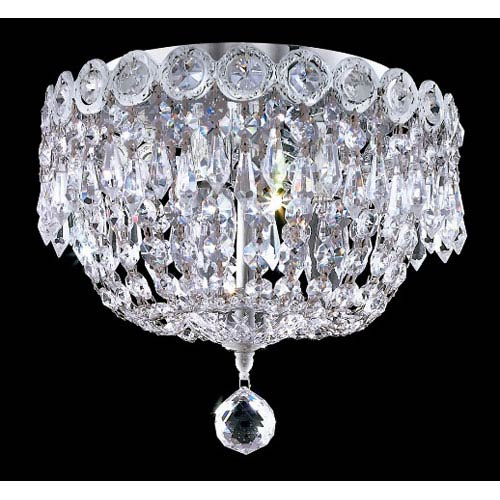 Elegant Lighting Century Chrome Three-Light 10-Inch Flush Mount with Royal Cut Clear Crystal