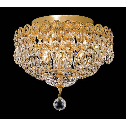 Elegant Lighting Century Gold Four-Light 12-Inch Flush Mount with Royal Cut Clear Crystal
