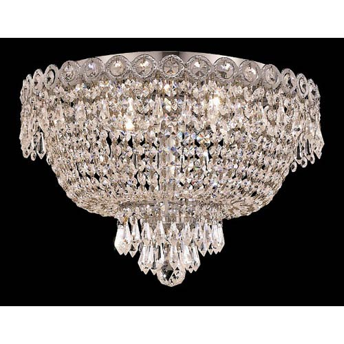 Elegant Lighting Century Chrome Four-Light 16-Inch Flush Mount with Royal Cut Clear Crystal