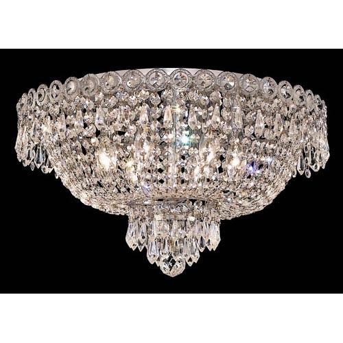 Elegant Lighting Century Chrome Six-Light 18-Inch Flush Mount with Royal Cut Clear Crystal