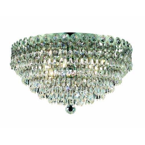 Elegant Lighting Century Prism Chrome Four-Light 14-Inch Flush Mount with Royal Cut Clear Crystal