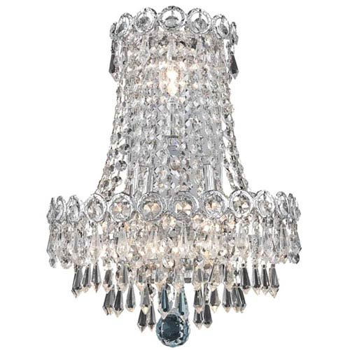 Elegant Lighting Century Prism Chrome Three-Light 17-Inch Wall Sconce with Royal Cut Clear Crystal
