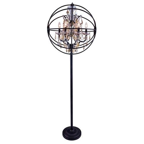 Elegant Lighting Geneva Dark Bronze Twenty-Four-Inch Floor Lamp with Golden Teak Crystals