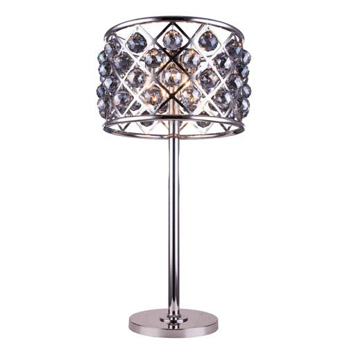 Madison Polished Nickel Three-Light Table Lamp with Royal Cut Silver Shade Crystals
