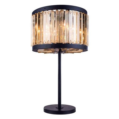 Chelsea Mocha Brown Eighteen-Inch Table Lamp with Golden Teak Crystals