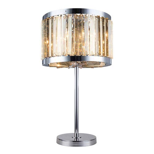 Chelsea Polished Nickel Eighteen-Inch Table Lamp with Golden Teak Crystals