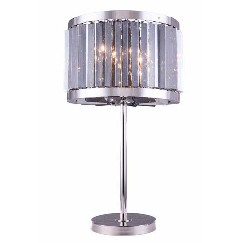 Chelsea Polished Nickel Eighteen-Inch Table Lamp with Silver Shade Crystals