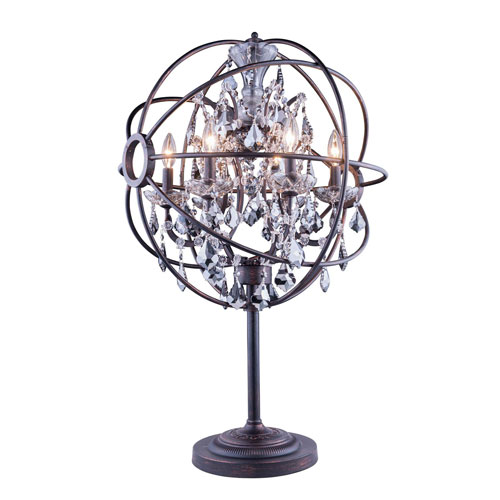 Elegant Lighting Geneva Dark Bronze Twenty-Two-Inch Table Lamp with Silver Shade Crystals