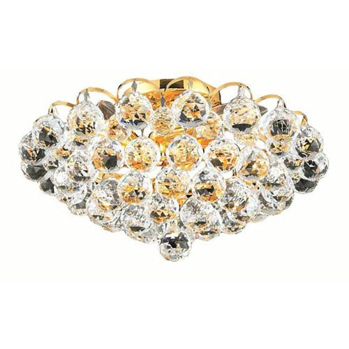 Godiva Gold Four-Light 14-Inch Flush Mount with Royal Cut Clear Crystal