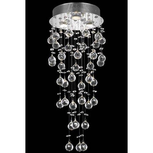 Elegant Lighting Galaxy Chrome Three-Light Semi-Flush Mount with Clear Royal Cut Crystals