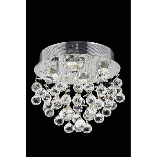 Elegant Lighting Galaxy Elegant Cut Crystal Chrome Four Light 14-in Flush Mount Fixture
