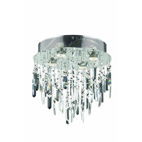 Elegant Lighting Galaxy Royal Cut Crystal Chrome Four Light 14-in Flush Mount Fixture