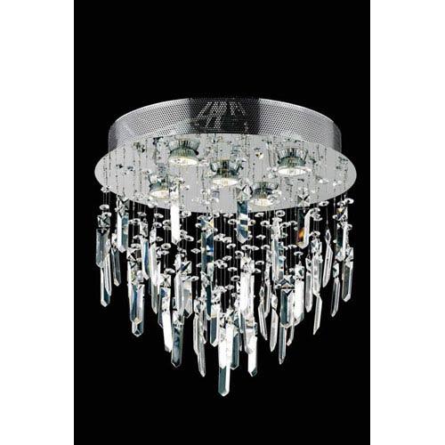 Elegant Lighting Galaxy Elegant Cut Crystal Chrome Five Light 16-in Flush Mount Fixture