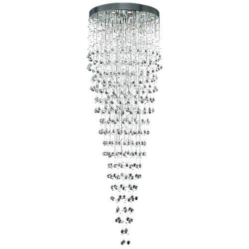 Galaxy Chrome Sixteen-Light 32-Inch Semi Flush Mount with Royal Cut Clear Crystal