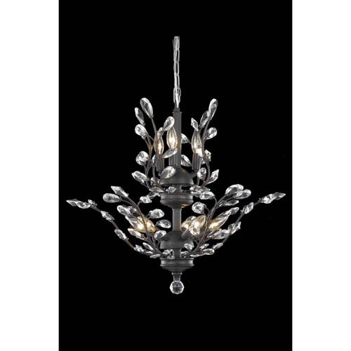 Orchid Dark Bronze Eight-Light Chandelier with Royal Cut Crystal