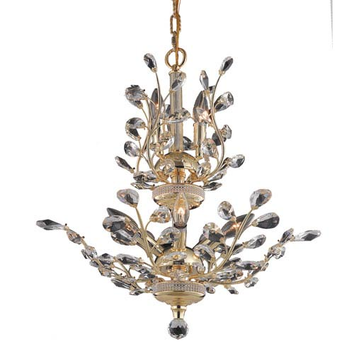 Elegant Lighting Orchid Gold Eight-Light 21-Inch Chandelier with Royal Cut Clear Crystal