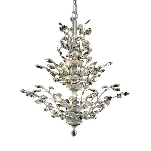 Elegant Lighting Orchid Chrome Thirteen-Light 27-Inch Chandelier with Royal Cut Clear Crystal