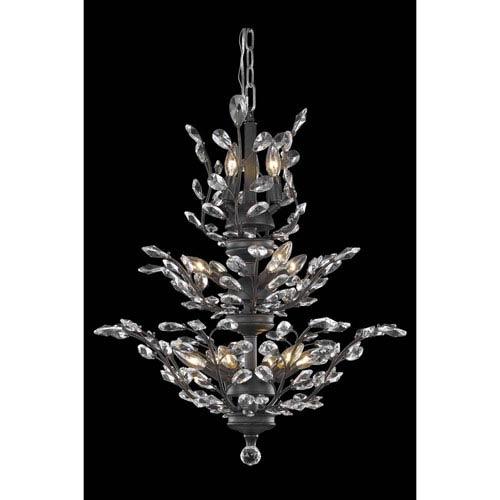 Elegant Lighting Orchid Dark Bronze 13-Light Chandelier with Royal Cut Crystal