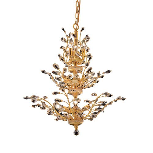 Elegant Lighting Orchid Gold Thirteen-Light 27-Inch Chandelier with Royal Cut Clear Crystal
