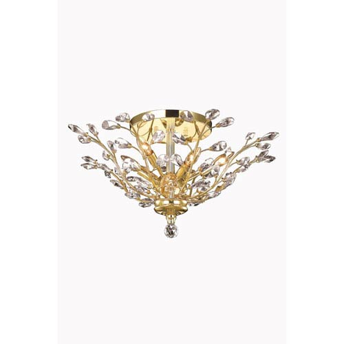 Elegant Lighting Orchid Gold Flush Mount with Royal Cut Crystal