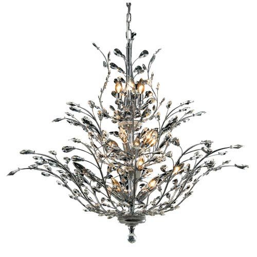 Orchid Chrome Eighteen-Light 41-Inch Chandelier with Royal Cut Clear Crystal