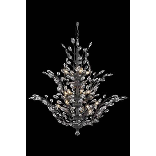 Elegant Lighting Orchid Dark Bronze 18-Light Chandelier with Royal Cut Crystal